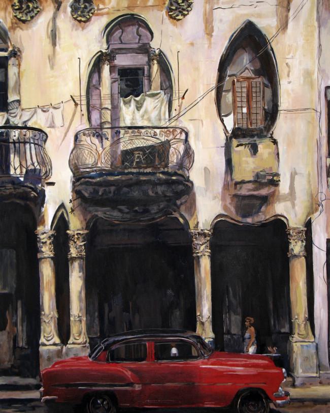cuba, car, 1950's, communism, fidel castro, cubano, oil painting, fine art, landscape, urban