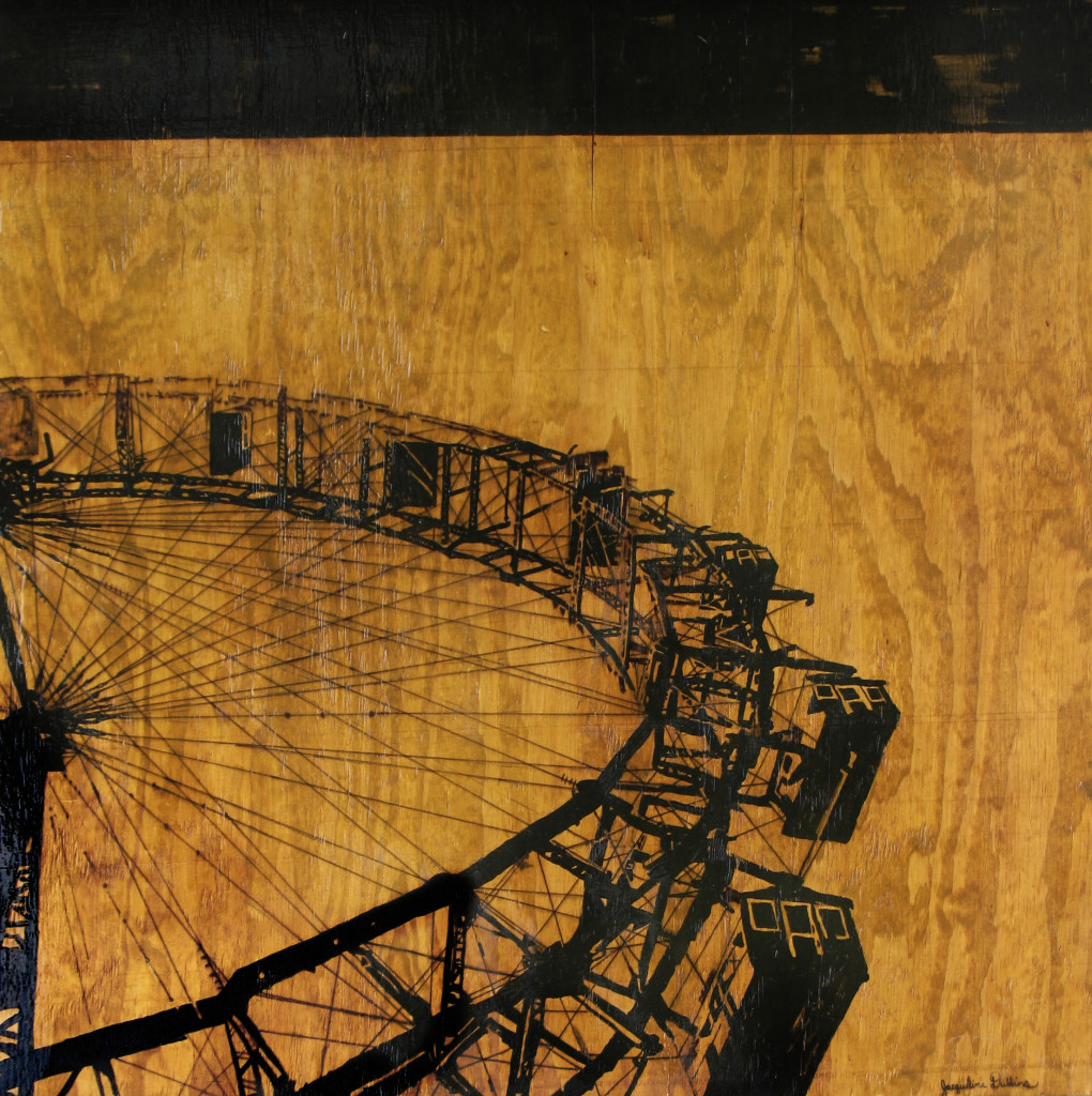 ferris wheel, world's fair, 1893, wood, silhouette, contemporary, modern art, painting