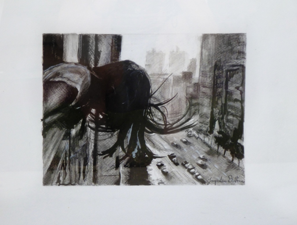 charcoal, drawing, sketch, city street, landscape, street scene, vertigo, apartment, girl, looking down