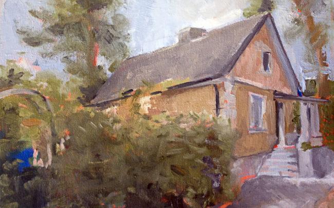 poland, house, farm house, landscape, oil painting, fine art, garden painting, impressionist
