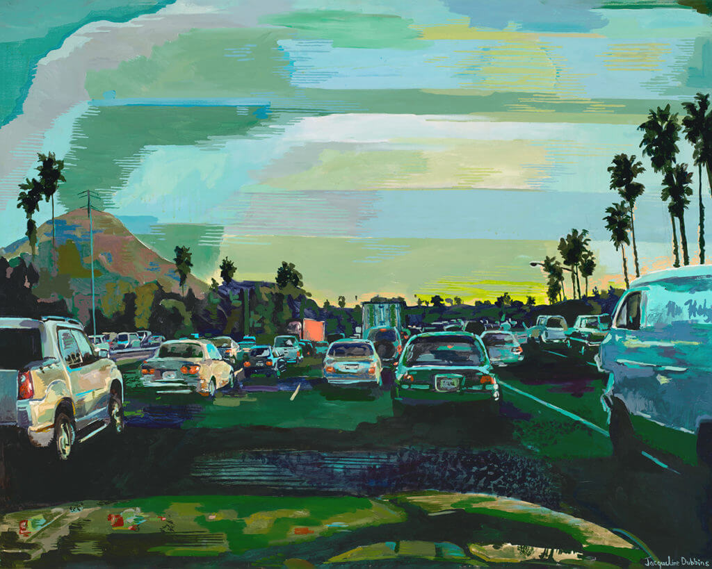 LA River, freeway, highway, 101, the 10, transportation, cars, traffic, los angeles, fine art, oil painting, landscape, urban landscape, design, sunset