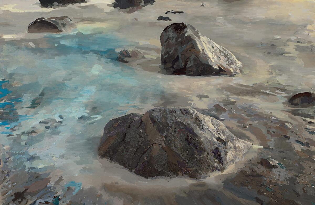 oil, landscape, impressionist, modern art, contemporary art, big sur, islands, ocean, rocks, painting