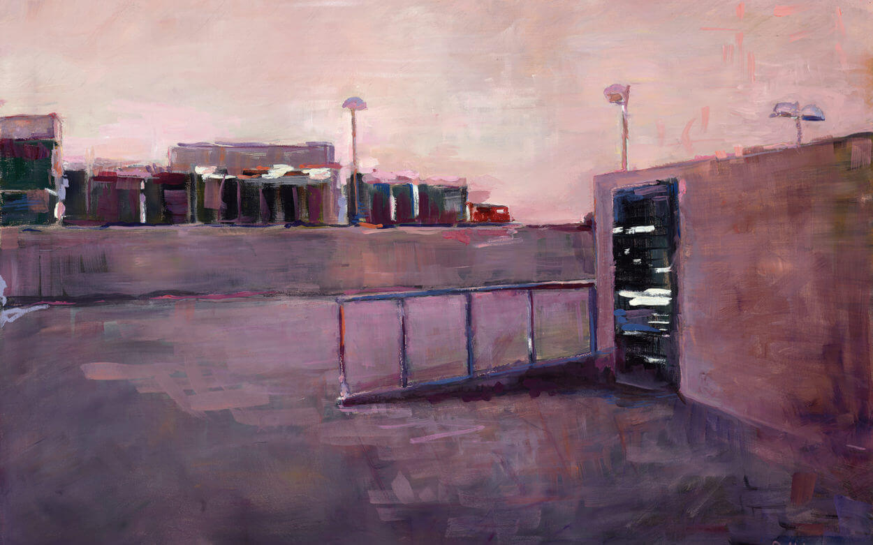 parking structure, car, sunset, los angeles, L.A., beverly hills, watercolor, painting, fine art, lavender