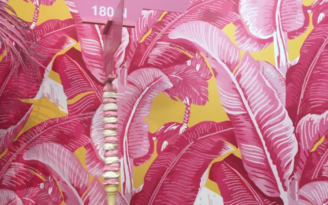 wallpaper, palm trees, pink, museum of ice cream, strawberry,